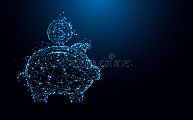 Abstrakta linjer för svinspargris- och myntform och trianglar, punktförbindande nätverk på blå bakgrund royaltyfri illustrationer