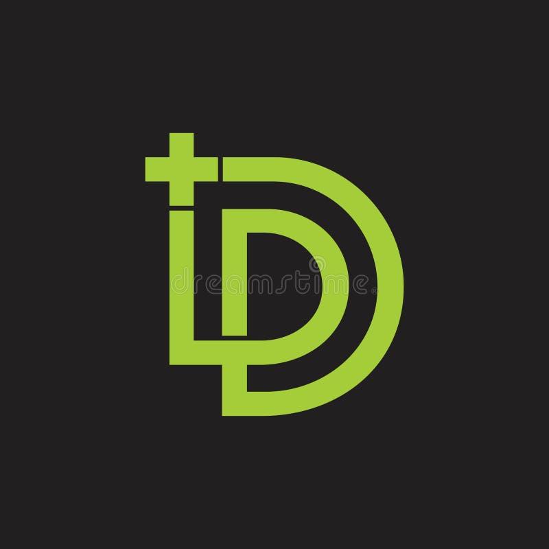 Abstrakta listowy pd plus medyczny logo wektor royalty ilustracja