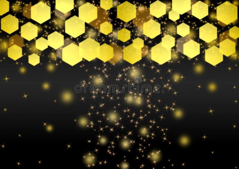 Abstrakta ljusa guld- ljus, bl?nker och Bokeh i m?rk bakgrund stock illustrationer