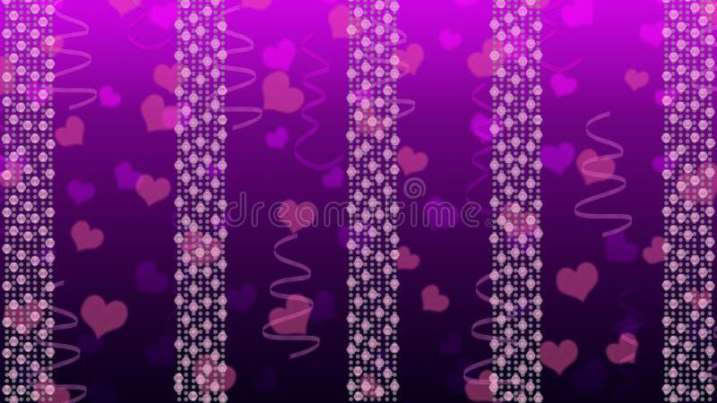 Abstrakta ljusa ljus, hjärtor och band i Gradated lilabakgrund royaltyfri illustrationer