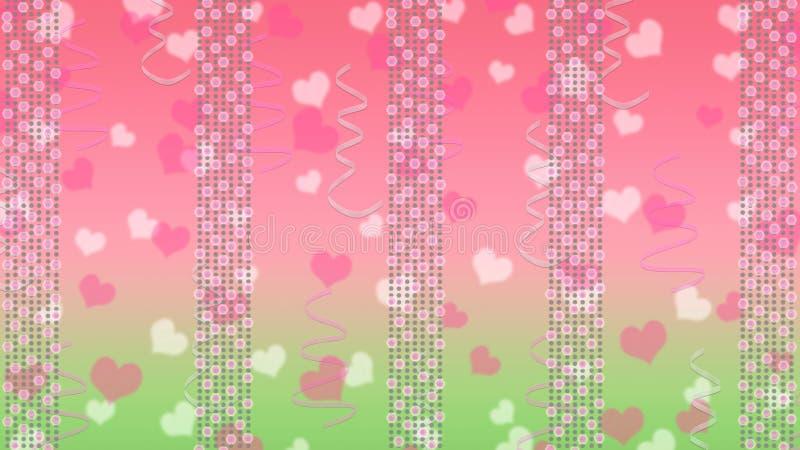 Abstrakta ljusa ljus, hjärtor och band i rosa och grön bakgrund stock illustrationer