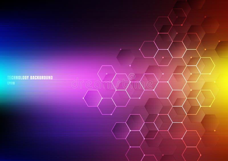 Abstrakta ljusa sexhörningar med digitalt geometriskt för knutpunkter och linjer och prickar på vibrerande färgbakgrund med horis royaltyfri illustrationer
