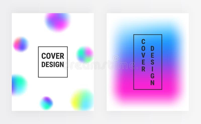 Abstrakta lutningsuddigheter, vätskefärgräkningar ställde in Vätskeformer med ljus färgbakgrund Moderiktig futuristisk sammansätt vektor illustrationer