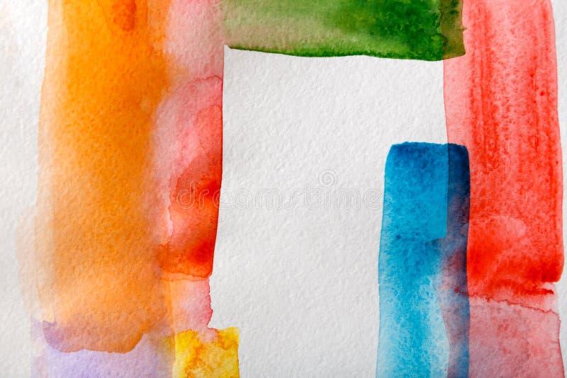 Abstrakta målad texturbakgrund för vattenfärg slaglängder royaltyfri foto