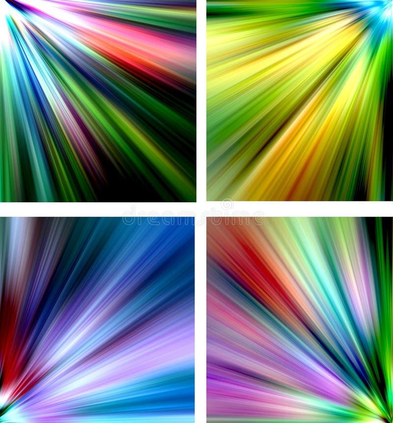 Abstrakta mångfärgade bakgrunder - strålar royaltyfri illustrationer