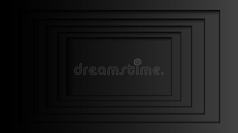 06 Abstrakta mörka rektangellager på svart bakgrund royaltyfri illustrationer