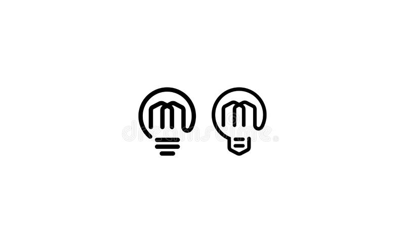 Abstrakta m żarówki logo ikony początkowy wektor ilustracji