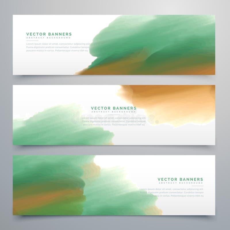 Abstrakta mallar för design för titelrad för rengöringsdukbanervattenfärg royaltyfri illustrationer