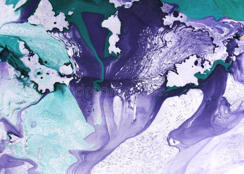 Abstrakta marmuru ręka malujący tło w sztuka współczesna stylu z rzadkopłynnym spływanie atramentem i akrylową obraz techniką zdjęcia stock