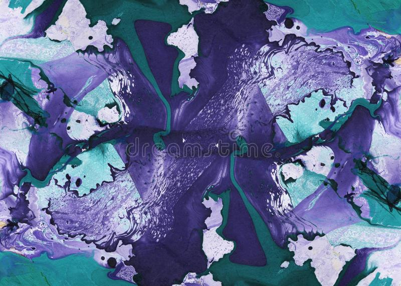 Abstrakta marmuru ręka malujący tło w sztuka współczesna stylu z rzadkopłynnym spływanie atramentem i akrylową obraz techniką obrazy stock