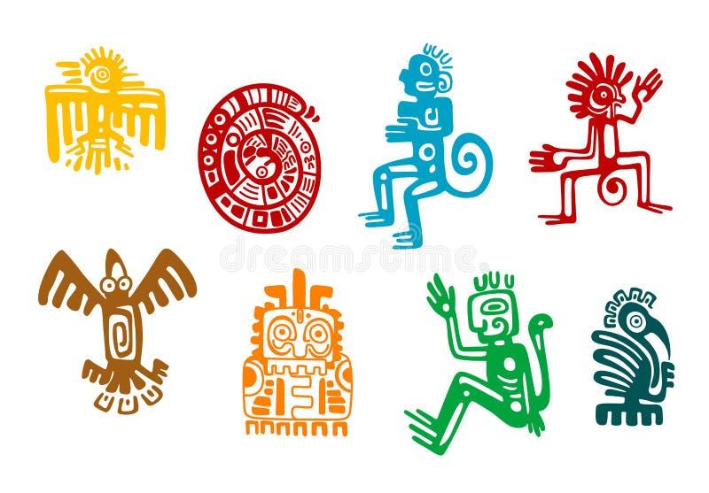 Abstrakta maya- och azteckonstsymboler stock illustrationer