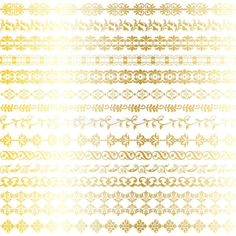 Abstrakta metalliska guld- utsmyckade gränser royaltyfri illustrationer