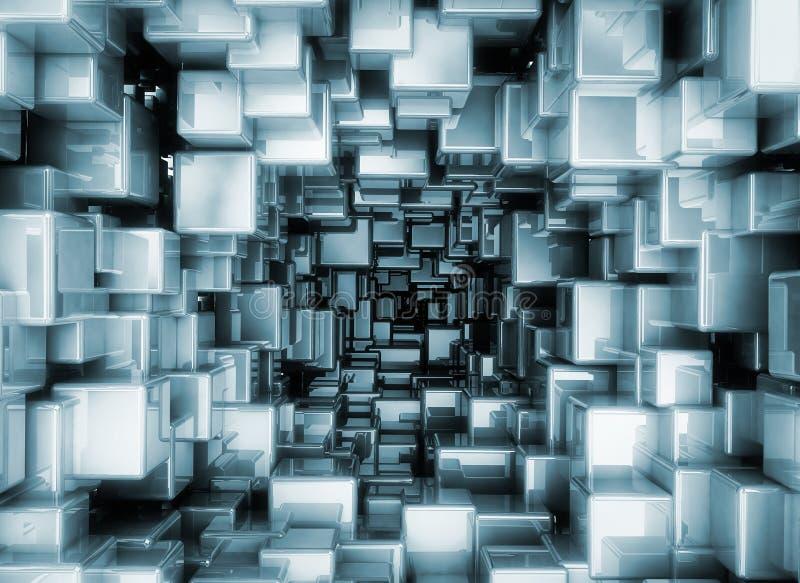 Abstrakta metalliska kuber 3d stock illustrationer