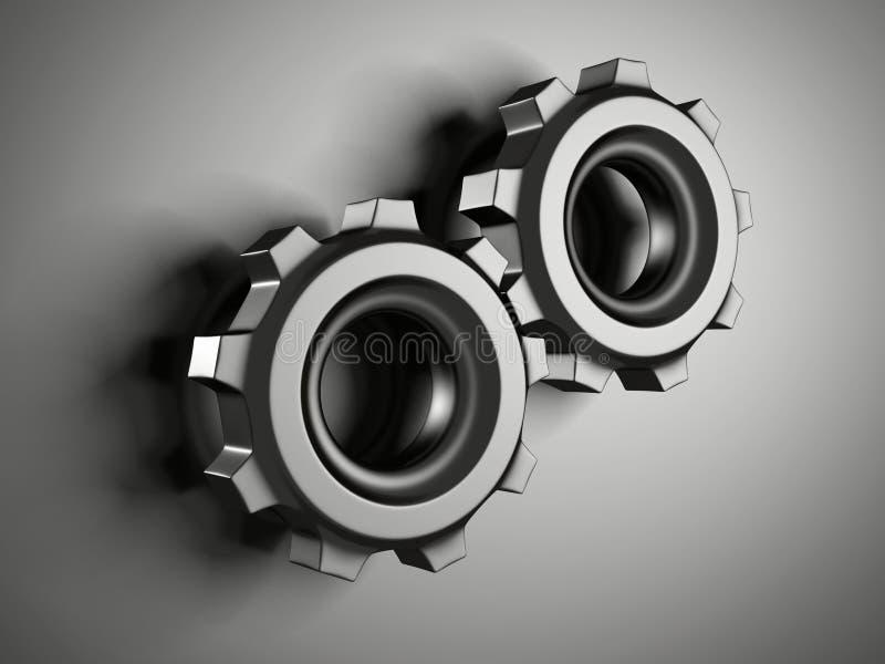 Abstrakta metalliska kugghjul för järnarbetskugghjul arkivbild