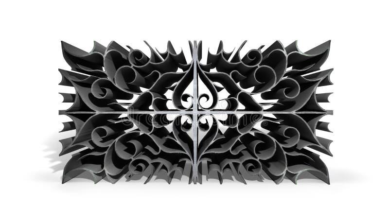 Abstrakta metallmodeller planlägger på vit bakgrund illustration 3d stock illustrationer