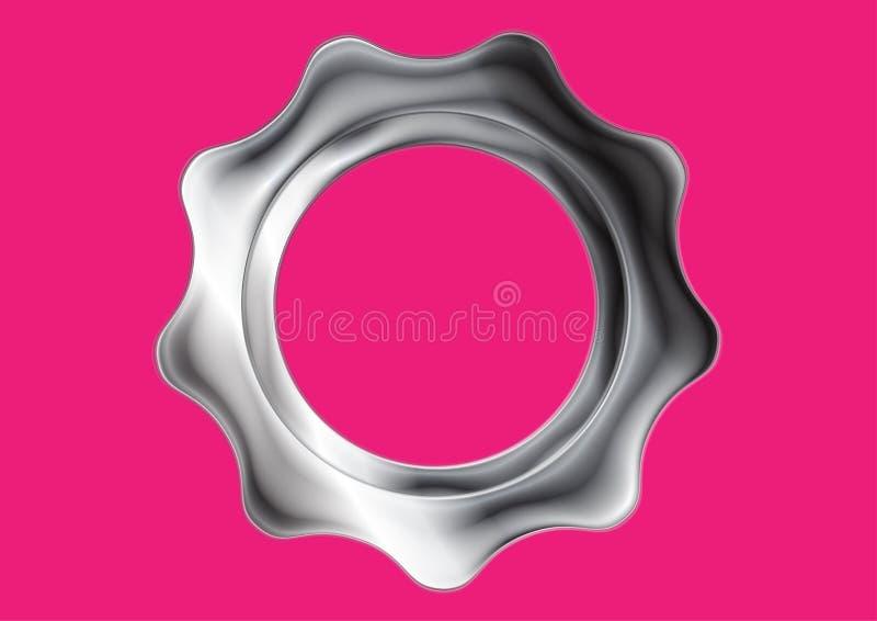 Abstrakta metalu srebna przekładnia na różowym tle ilustracji