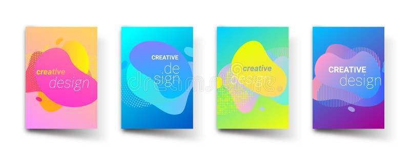 Abstrakta modellbakgrunder, moderna vätskefärglutningar och att täcka titelmallar Design för geometrisk modell för vektor grafisk royaltyfri illustrationer