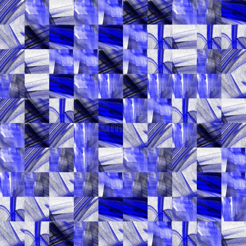 Abstrakta modeller för fractal för grungeblåtttextur royaltyfri illustrationer