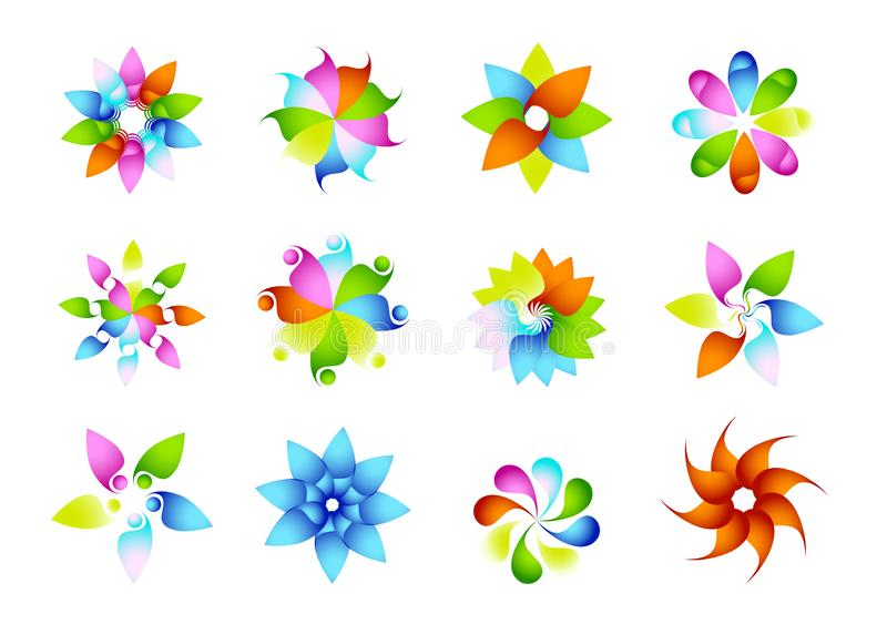 Abstrakta moderna cirkellogoer, regnbåge, blommor, beståndsdelar, blom-, uppsättning av blommaformvektorer och design för vektor  royaltyfri illustrationer