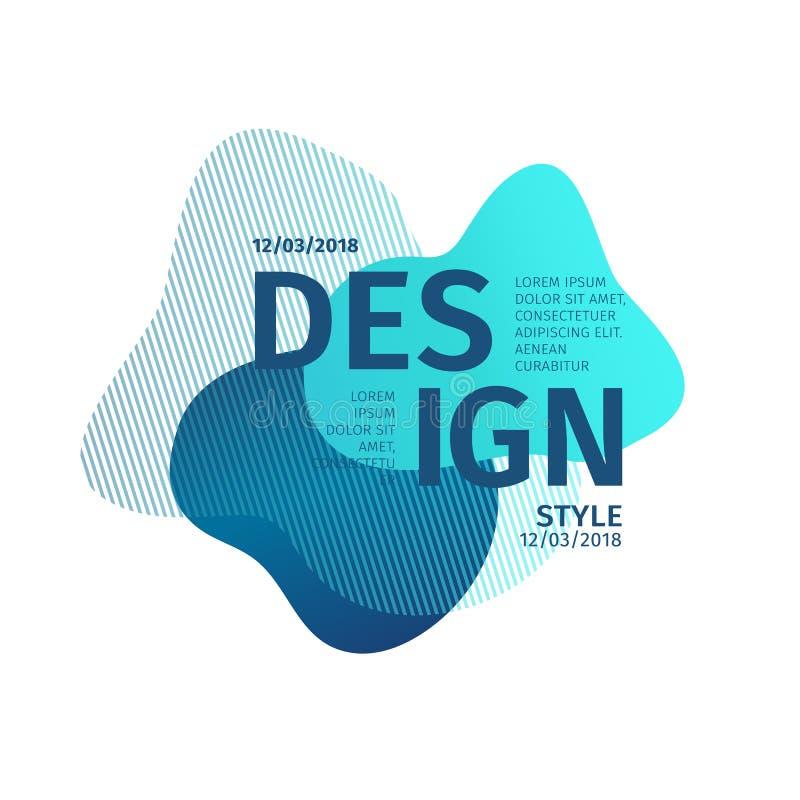 Abstrakta moderna grafiska beståndsdelar Dynamisk blå färgform och linje Abstrakt baner för lutning med plast- liqui royaltyfri illustrationer