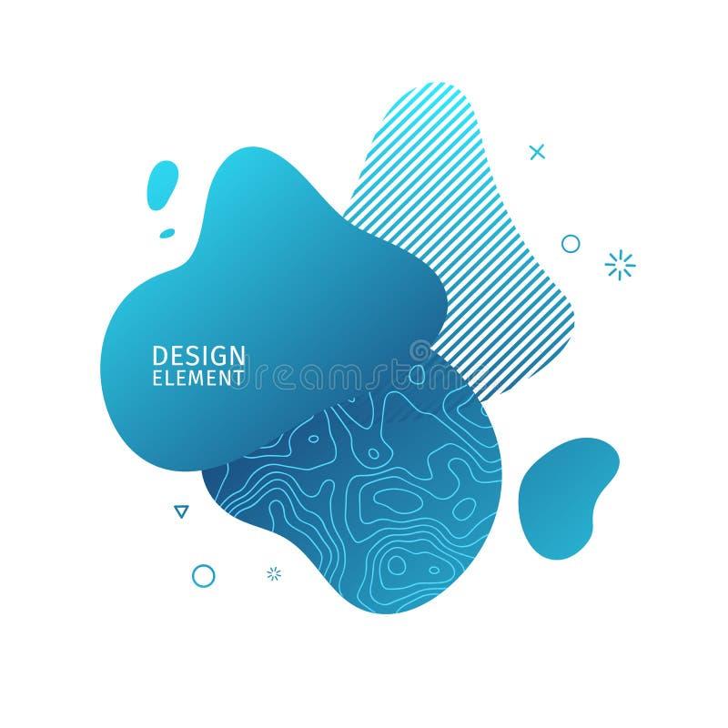 Abstrakta moderna grafiska best?ndsdelar Dynamisk bl? f?rgform och linje Abstrakt baner f?r lutning med plast- flytande stock illustrationer