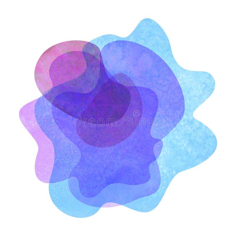 Abstrakta moderna plana geometriska genomskinliga vätskeformformer för vattenfärg royaltyfri illustrationer