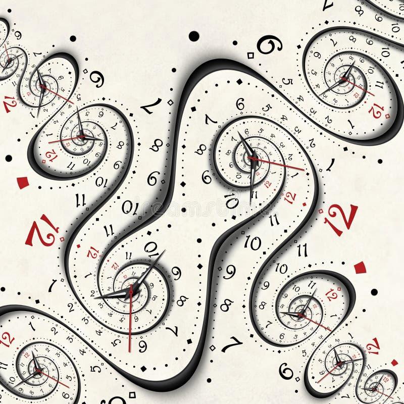 Abstrakta moderna vita overkliga spirala händer för klocka för klockafractalbegrepp Vriden bakgrund för modell för klockaklocka o royaltyfri illustrationer