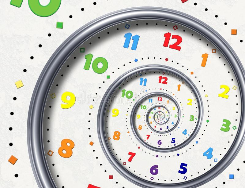 Abstrakta moderna vita pekare för händer för klocka för fractal för regnbågespiralklocka Vriden overklig ovanlig abstrakt modell  royaltyfri illustrationer