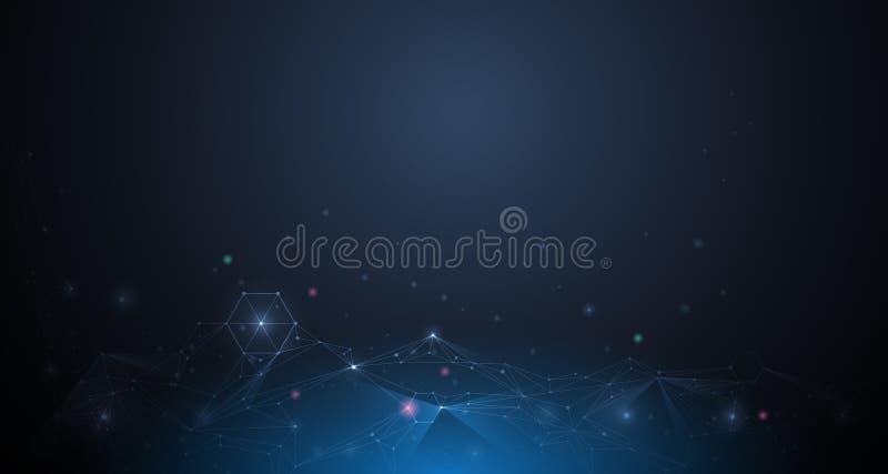 Abstrakta molekylar för illustration Teknologi för kommunikation för vektordesignnätverk på mörker - blå bakgrund royaltyfri illustrationer