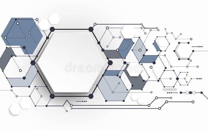Abstrakta molekylar för vektor med polygonen för papper 3D på ljus - grå bakgrund vektor illustrationer