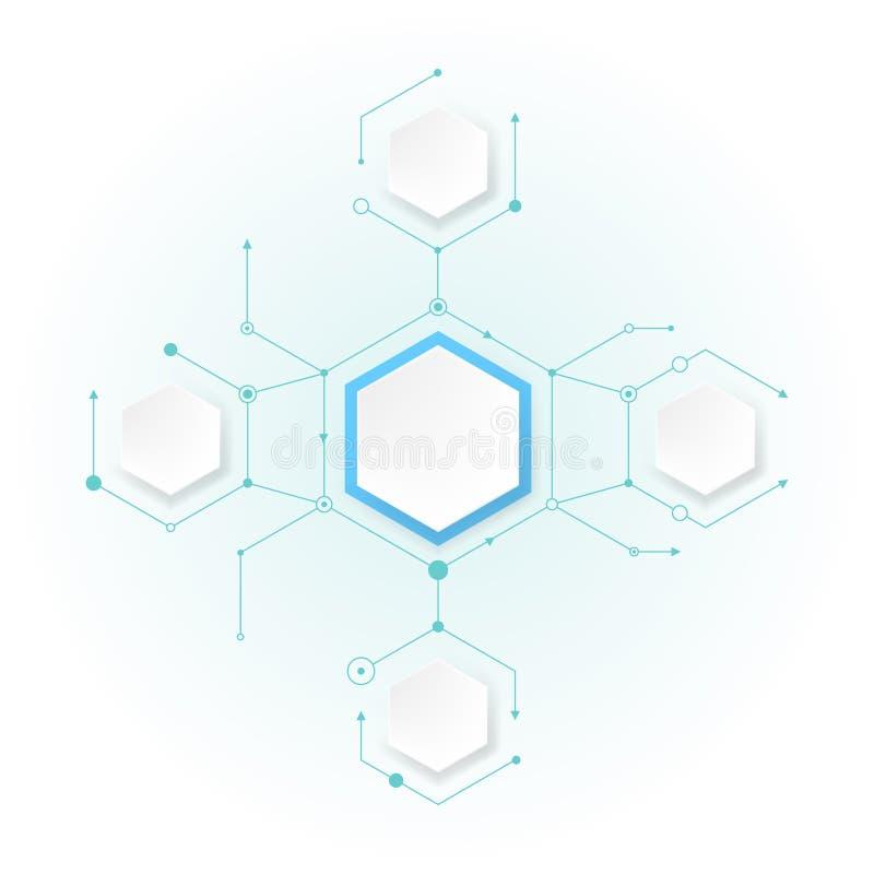 Abstrakta molekylar med sexhörningspapper vektor illustrationer