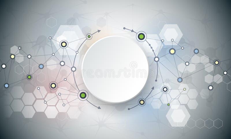 Abstrakta molekylar och kommunikation - socialt massmediateknologibegrepp vektor illustrationer