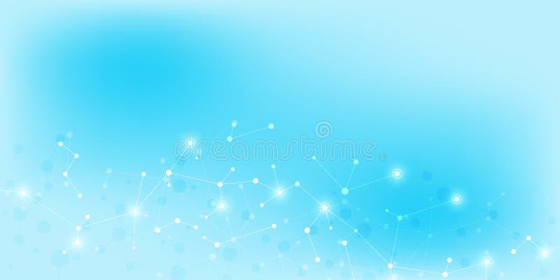 Abstrakta molekylar på mjuk blå bakgrund Molekylära strukturer eller DNAtråd, nerv- nätverk, genteknik stock illustrationer
