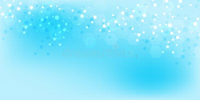 Abstrakta molekylar på mjuk blå bakgrund Molekylära strukturer eller DNAtråd, nerv- nätverk, genteknik royaltyfri illustrationer