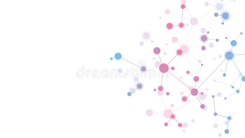 Abstrakta molekylar på ren vit bakgrund Molekylära strukturer eller DNAtråd, nerv- nätverk, genteknik royaltyfri illustrationer