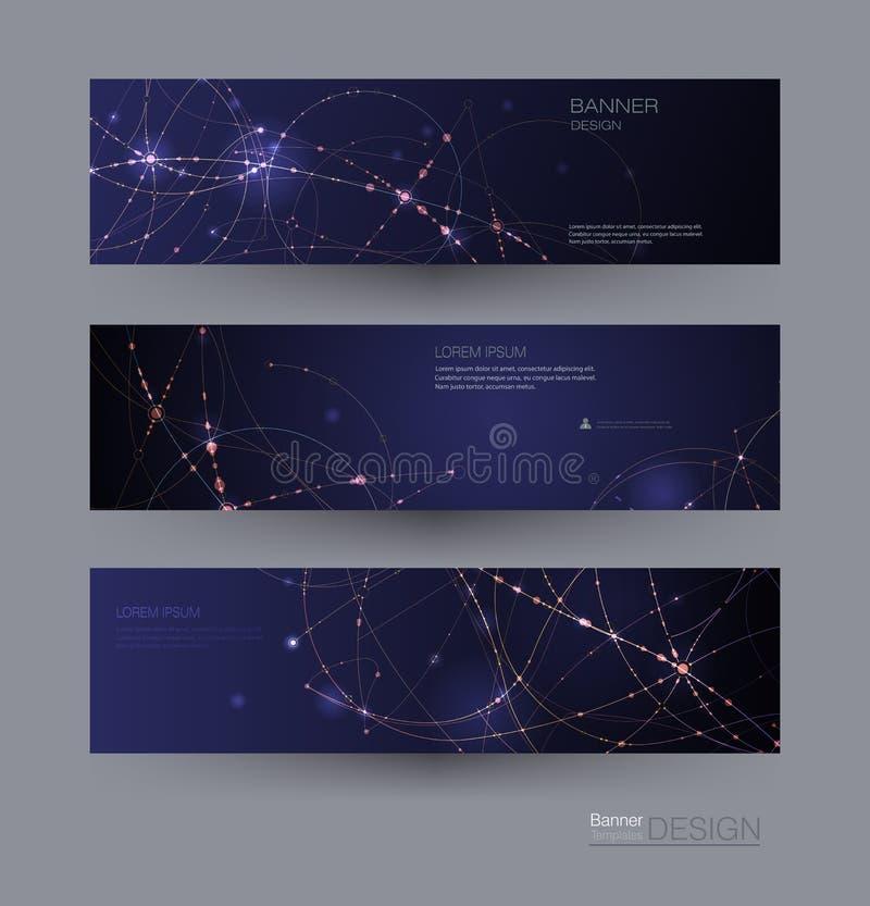 Abstrakta molekylbaner ställde in med cirkellinjen, molekylstruktur Bakgrund för kommunikation för vektordesignnätverk vektor illustrationer