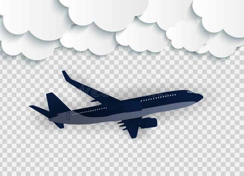Abstrakta moln med det realistiska flygplanet 3D för flyg på en genomskinlig bakgrund ocks? vektor f?r coreldrawillustration royaltyfri illustrationer