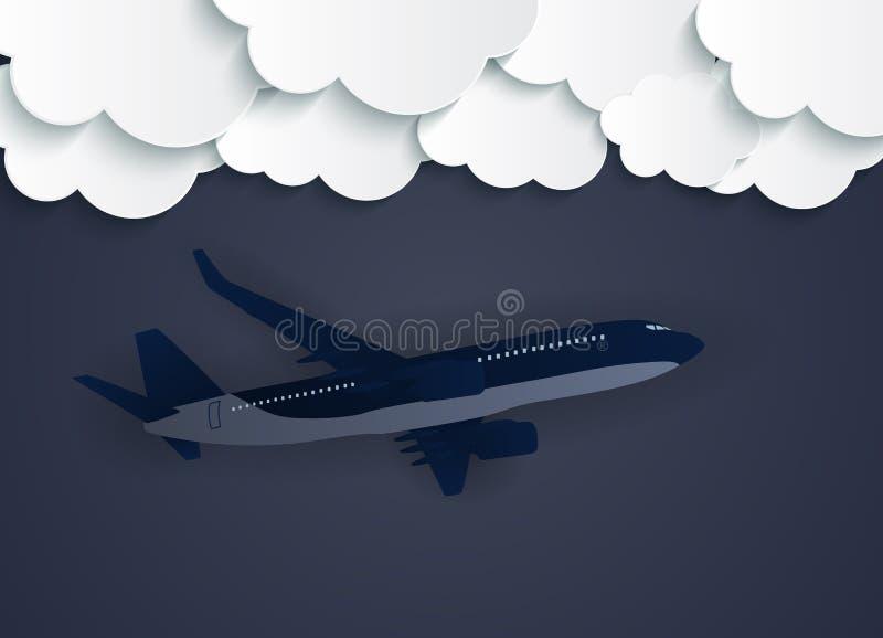 Abstrakta moln med illustrationen för vektor för flygplan 3D för flyg den realistiska royaltyfri illustrationer