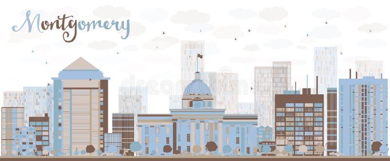 Abstrakta Montgomery Skyline med färgbyggnad stock illustrationer