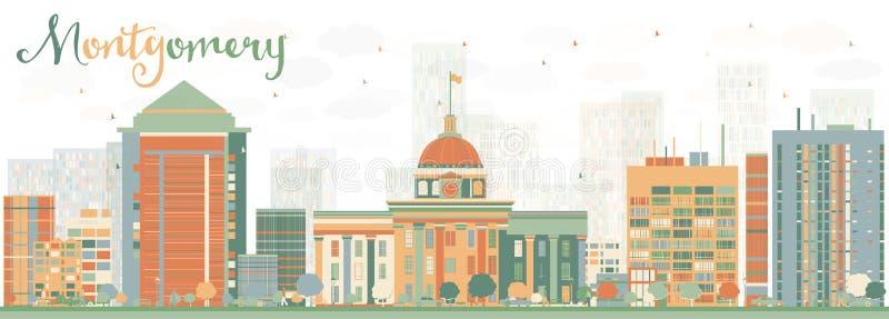Abstrakta Montgomery Skyline med färgbyggnader stock illustrationer