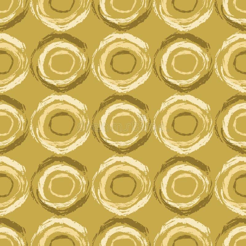 Abstrakta muśnięcia uderzenie Okrąża Bezszwowego wektoru wzór, polek kropek ręka Malująca ilustracja ilustracja wektor