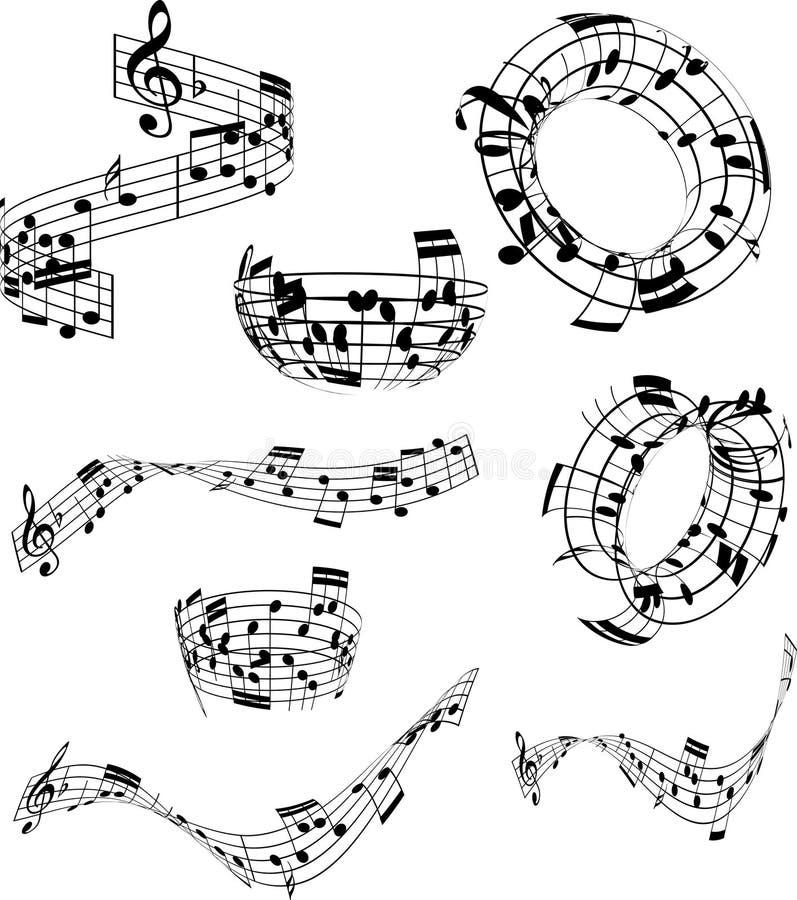 Abstrakta musikanmärkningar vektor illustrationer