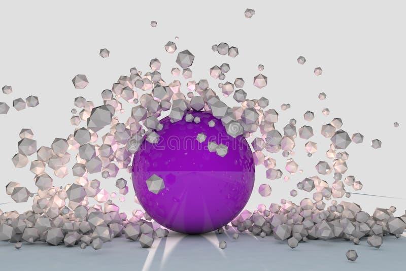 Abstrakta objekt 3d exploderar runt om den backlit purpurfärgade sfären vektor illustrationer