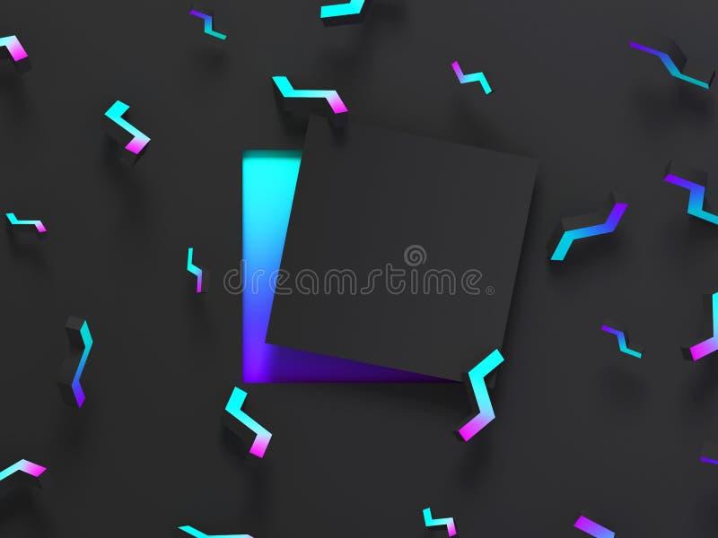 Abstrakta ocieniony 3d geometryczny tło Czarny nowożytny jarzeniowy projekt dla plakata, pokrywa, sztandar, karta ilustracja wektor