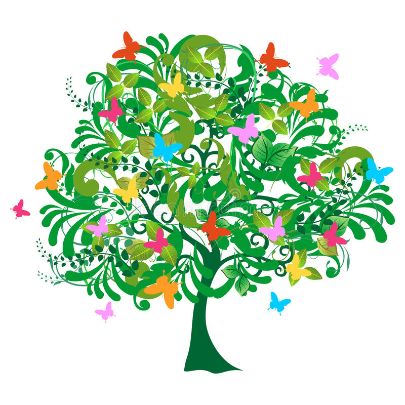 abstrakta odosobniony wiosna czas drzewo royalty ilustracja