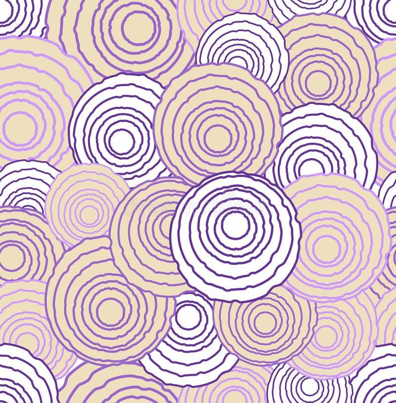 Abstrakta ojämna cirkelbeståndsdelar i optisk konst utformar, sömlös futuristisk låg kontrastera bakgrund i rosa färger och lilor stock illustrationer