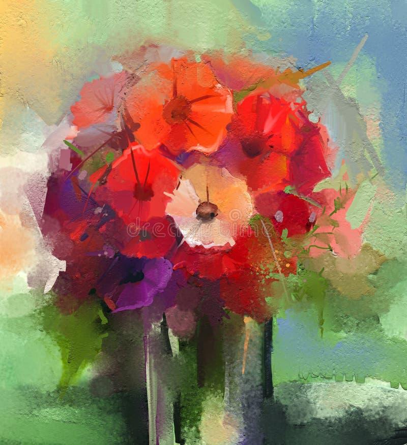 Abstrakta olje- målningar som en bukett av gerberaen blommar i vas royaltyfri illustrationer