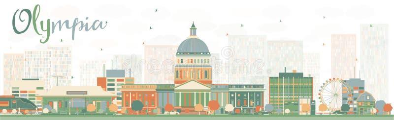 Abstrakta Olympia Washington Skyline med färgbyggnader stock illustrationer