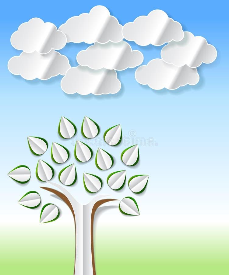 Abstrakta pappers- träd och moln som ut klipps royaltyfri illustrationer