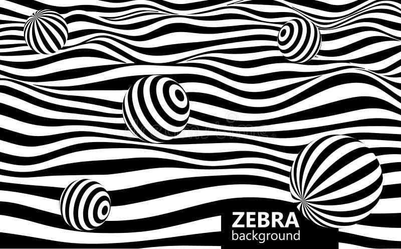 Abstrakta pasiasty falisty tło Czarny i biały wyginać się linie z sferami ilustracji
